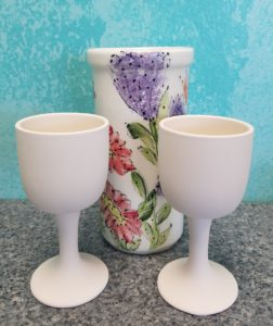 wine cooler and goblets